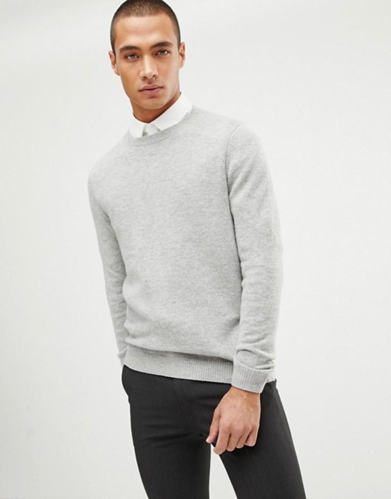 エイソス メンズ ニット・セーター アウター ASOS DESIGN lambswool sweater in light gray Light grey