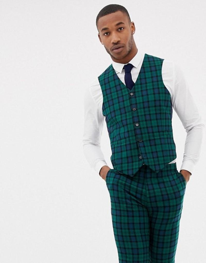 エイソス メンズ タンクトップ トップス ASOS DESIGN wedding skinny suit vest in blackwatch plaid Green