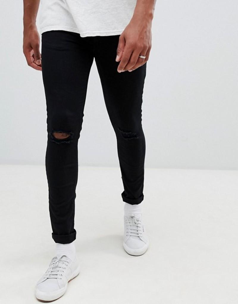ニュールック メンズ デニムパンツ ボトムス New Look skinny jeans with knee rip in black wash Black