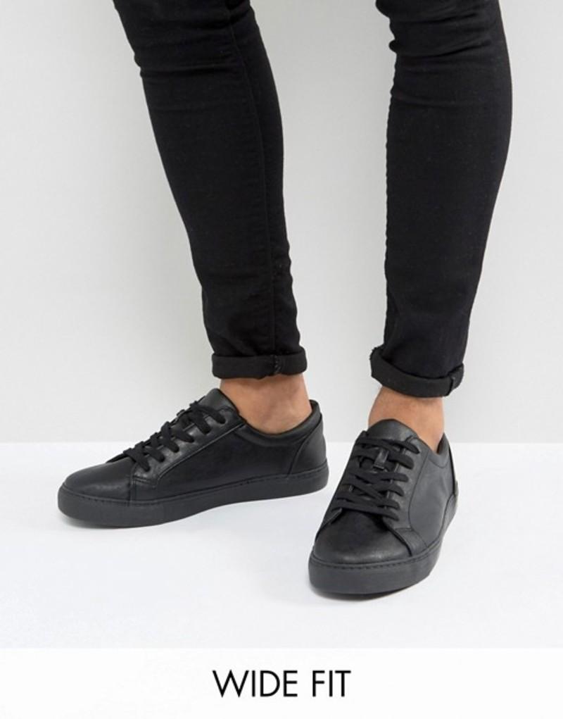エイソス メンズ スニーカー シューズ ASOS DESIGN Wide Fit lace up sneakers in black Black