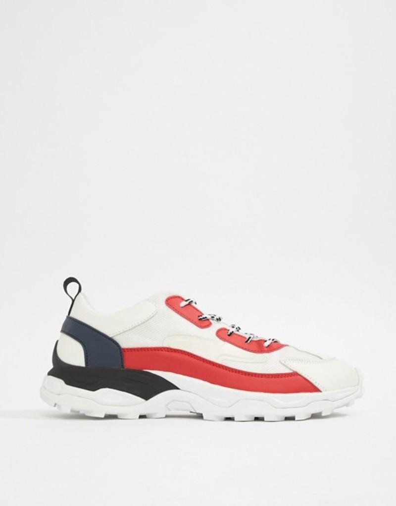 エイソス メンズ スニーカー シューズ ASOS DESIGN tricolour sneakers with chunky sole White