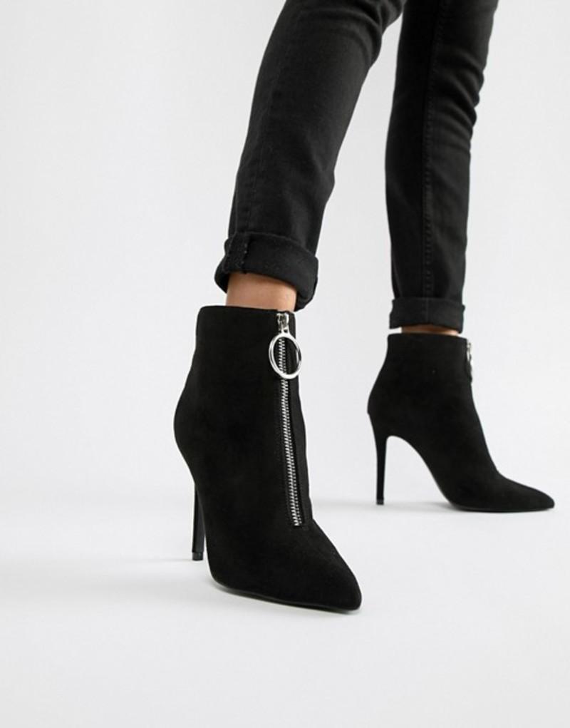キューピッド レディース ブーツ・レインブーツ シューズ Qupid Zip Front Pointed Ankle Boots Black micro