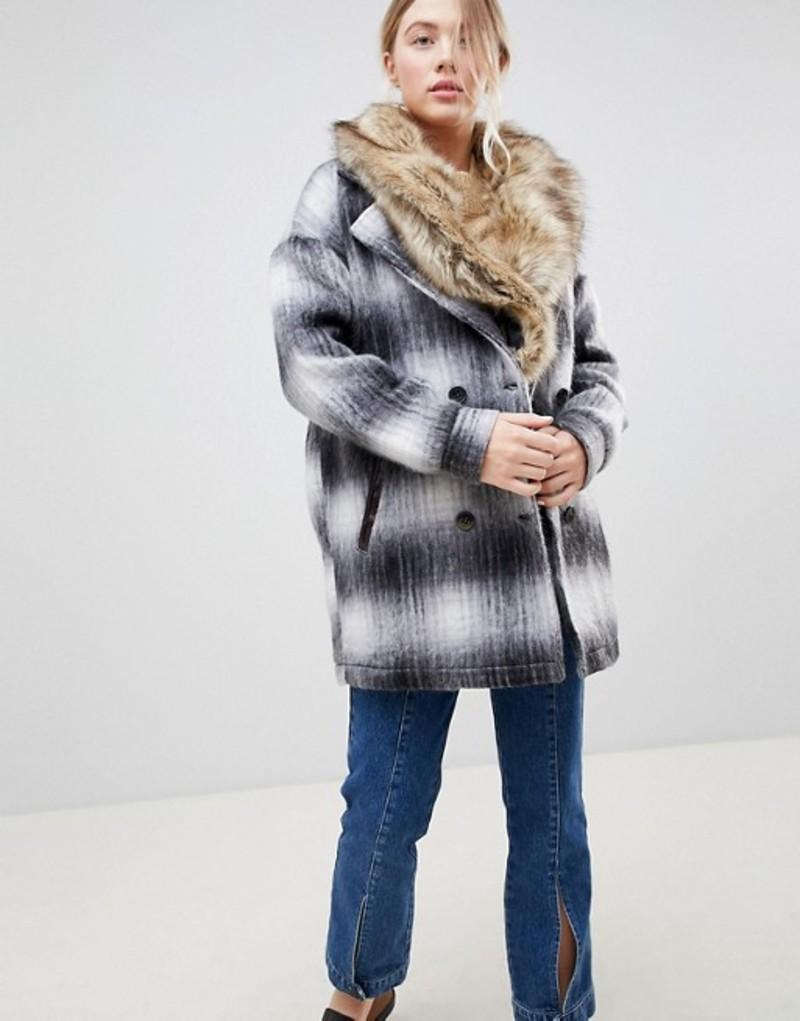 ベルフィールド レディース コート アウター Bellfield Wool Check Coat With Faux Fur Collar Black