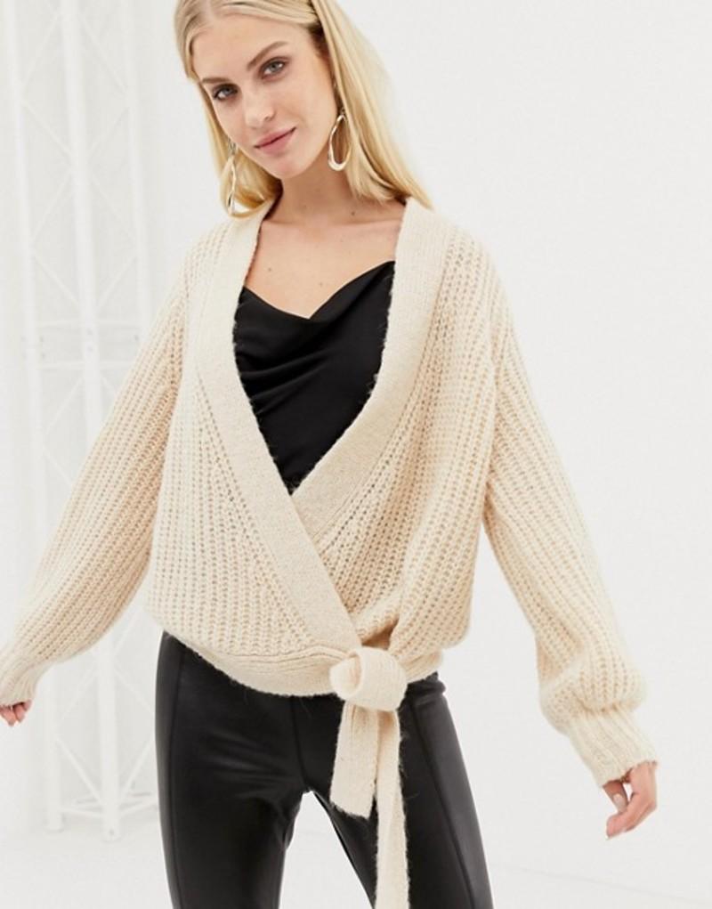 ワイエーエス レディース カーディガン アウター Y.A.S knitted wrap cardigan Creme