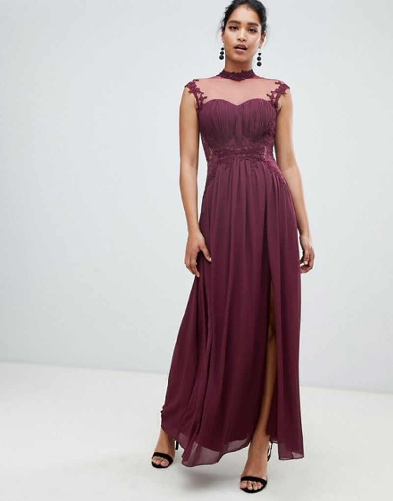 リトルミストレス レディース ワンピース トップス Little Mistress high neck chiffon maxi dress with lace back and delicate floral applique detail Merlot
