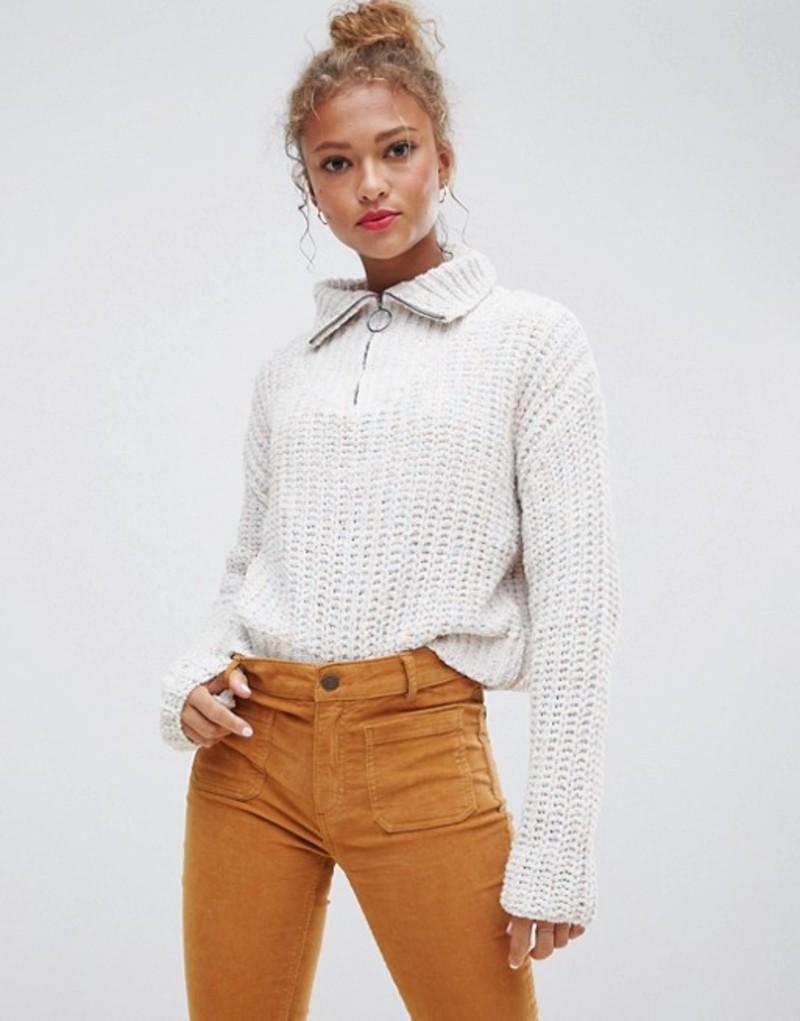 プルアンドベアー レディース ニット・セーター アウター Pull&Bear Zip Front Popcorn Sweater Multi