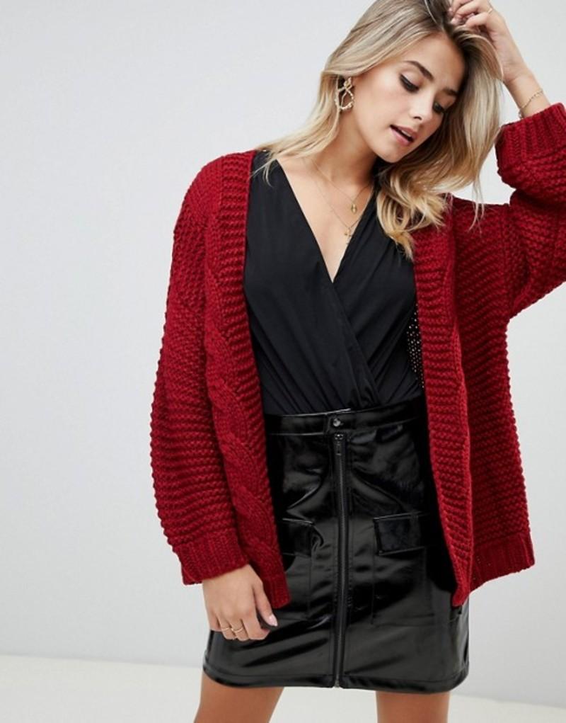 プリティリトルシング レディース カーディガン アウター PrettyLittleThing cable knit slouchy cardigan in red Red