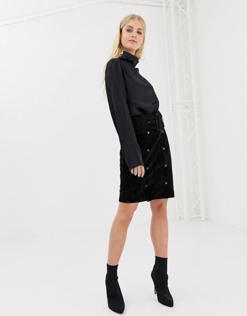 ワイエーエス レディース スカート ボトムス Y.A.S belted suede pencil skirt Black