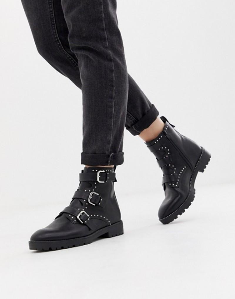 プルアンドベアー レディース ブーツ・レインブーツ シューズ Pull&bear boot studded and buckle strap boot Black