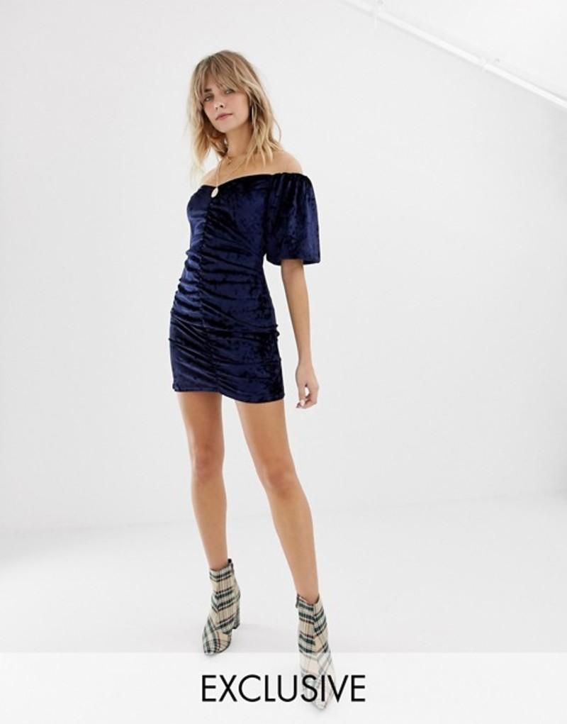 リクレイム ヴィンテージ レディース ワンピース トップス Reclaimed Vintage inspired velvet mini dress with ruching and puff sleeve Navy