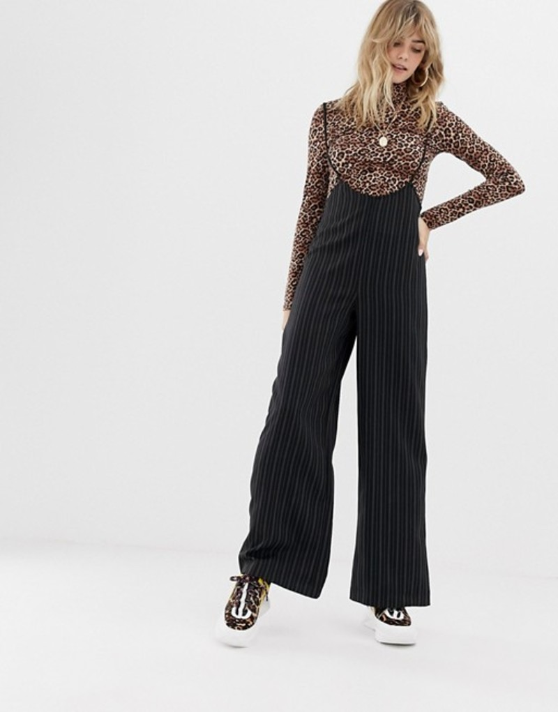 リクレイム ヴィンテージ レディース カジュアルパンツ ボトムス Reclaimed Vintage inspired pants with suspenders in pinstripe Black