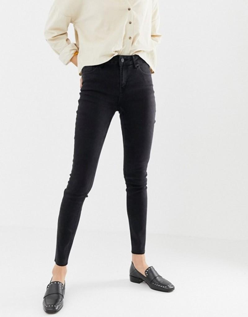 オンリー レディース デニムパンツ ボトムス Only Pearl mid rise raw hem skinny jeans Black