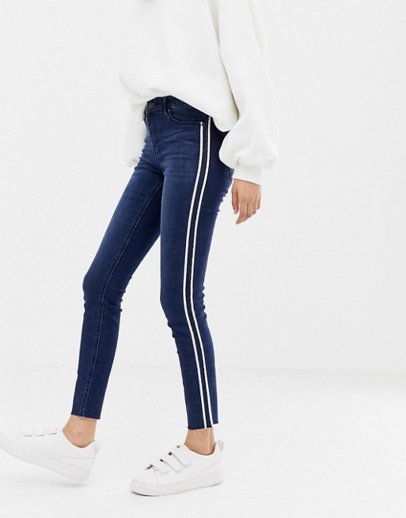 オンリー レディース デニムパンツ ボトムス Only Pearl side panel skinny jeans Medium blue denim
