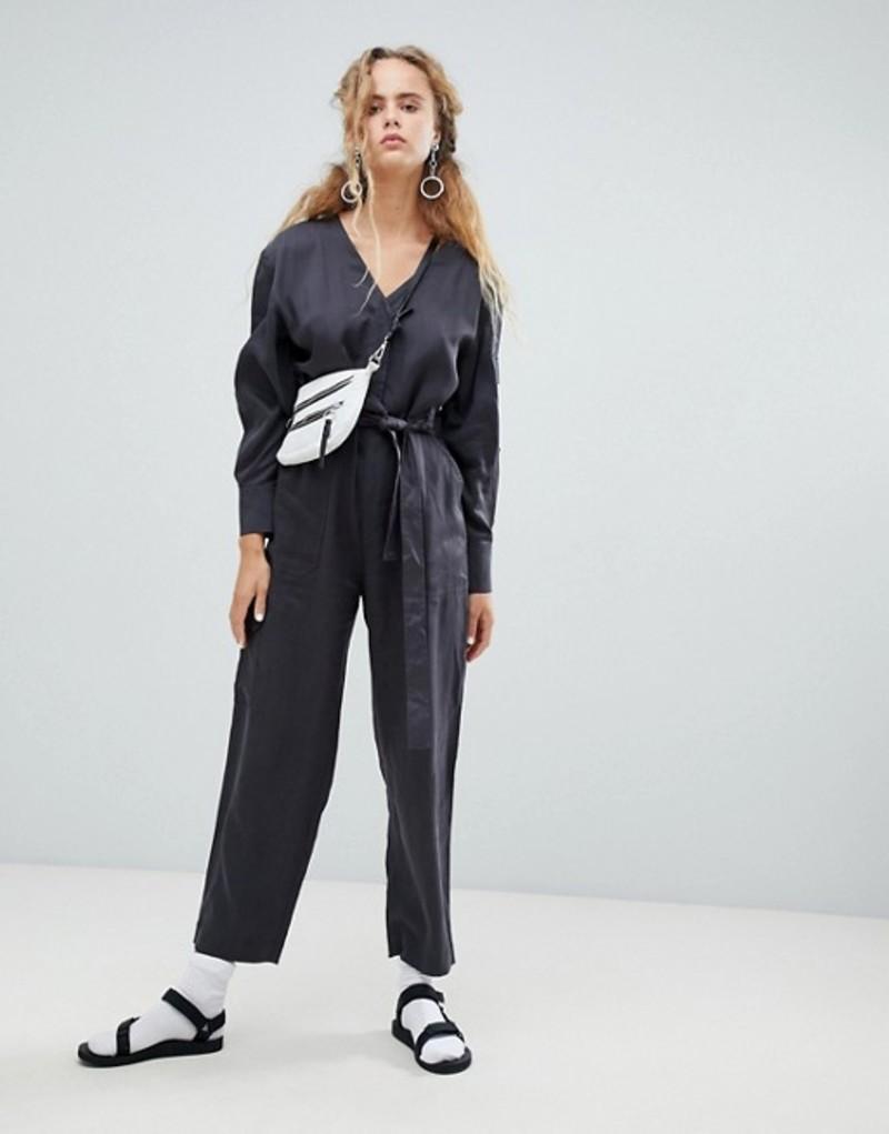 ウィークデイ レディース ワンピース トップス Weekday tencel pocket detail utility jumpsuit in gray Dark grey