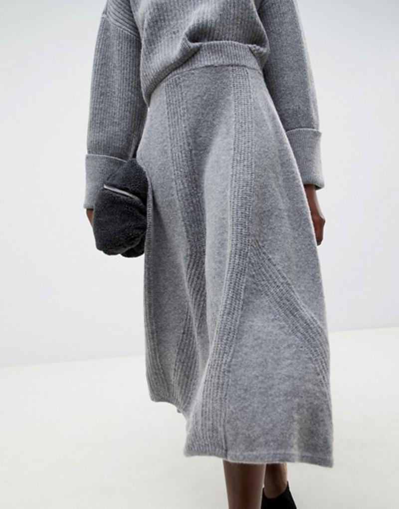 エイソス レディース スカート ボトムス ASOS WHITE knitted midi skirt two-piece Grey