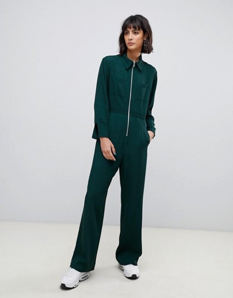 エイソス レディース ワンピース トップス ASOS WHITE zip front jumpsuit Green