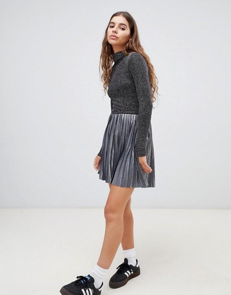 ウィークデイ レディース スカート ボトムス weekday silver pleated mini skirt Silver