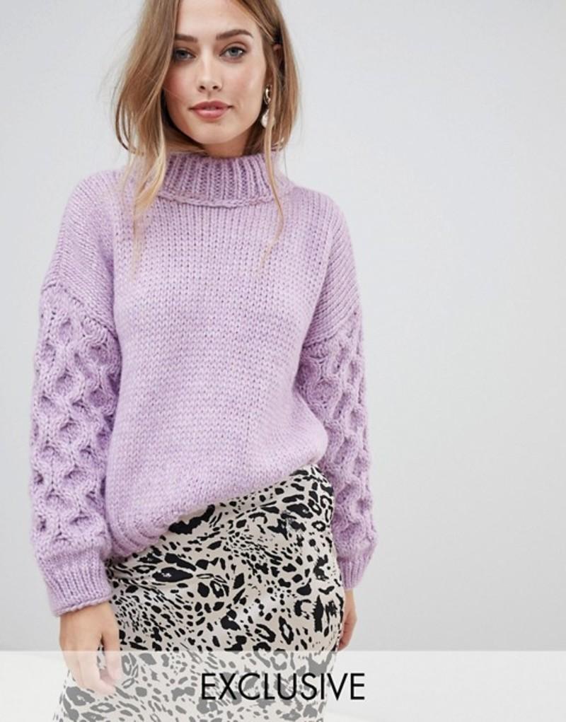 オネオン レディース ニット・セーター アウター OneOn hand knitted textured sleeve sweater Lilac