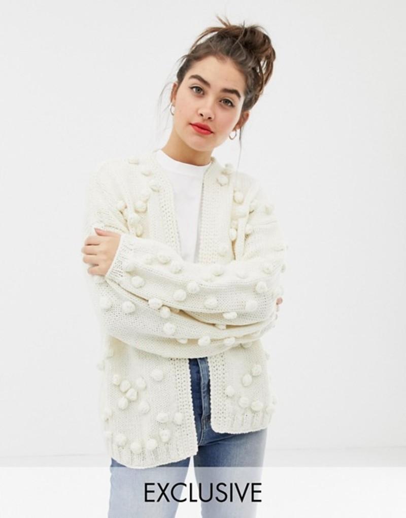 オネオン レディース カーディガン アウター OneOn hand knitted pom pom cardigan Cream