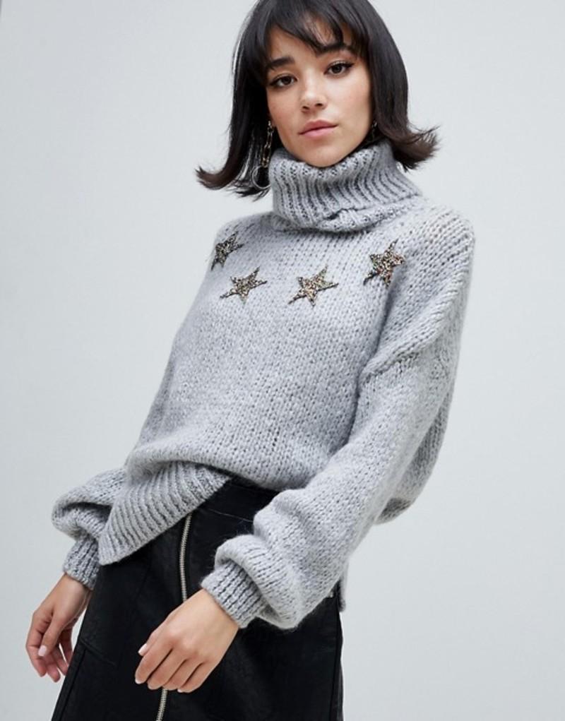 リバーアイランド レディース ニット・セーター アウター River Island roll neck sweater with stars in gray Grey dark