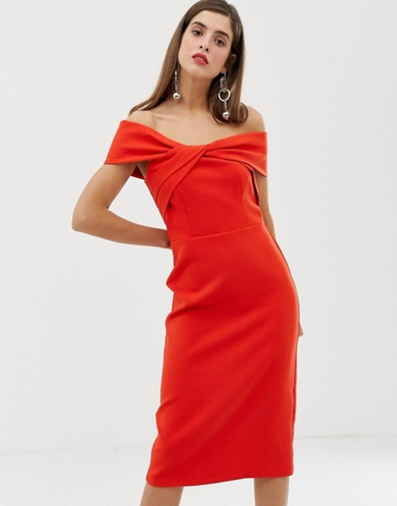 リバーアイランド レディース ワンピース トップス River Island off the shoulder bodycon dress in red Red3A4cRjL5q