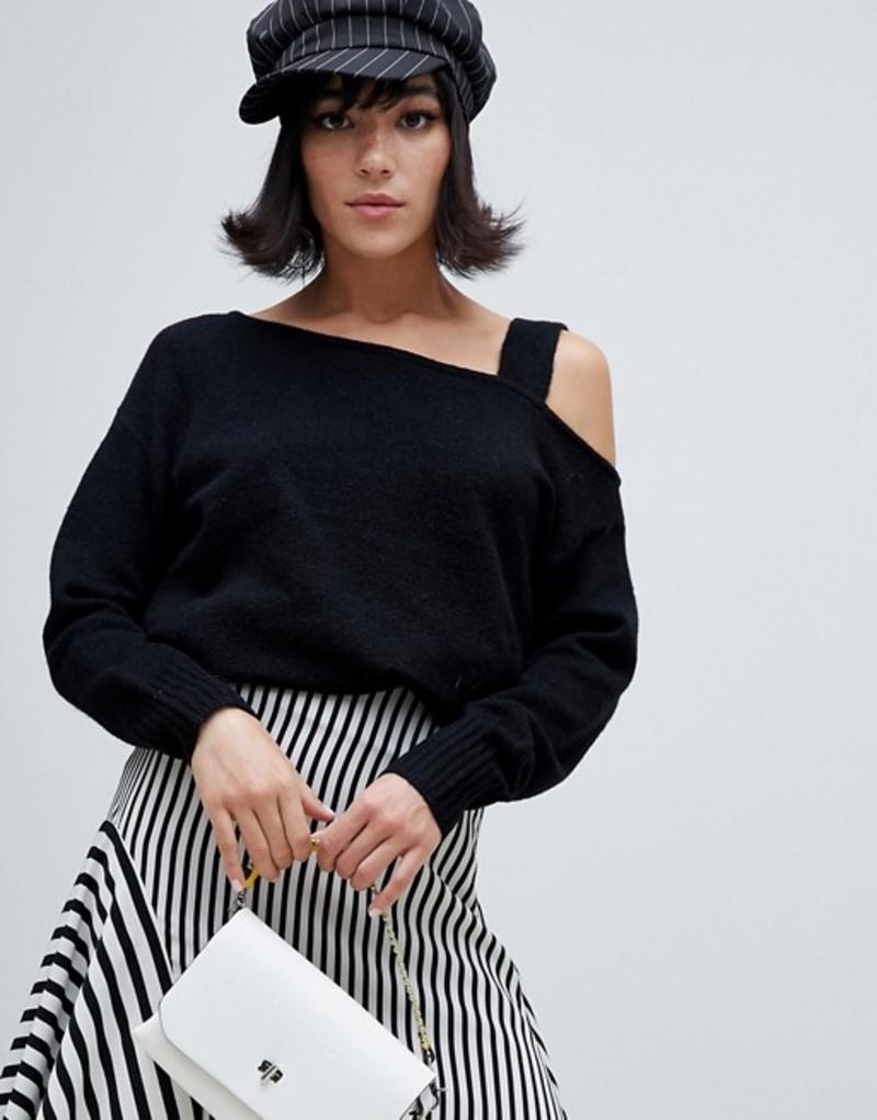 リバーアイランド レディース ニット・セーター アウター River Island sweater with asymmetric shoulder in black Black