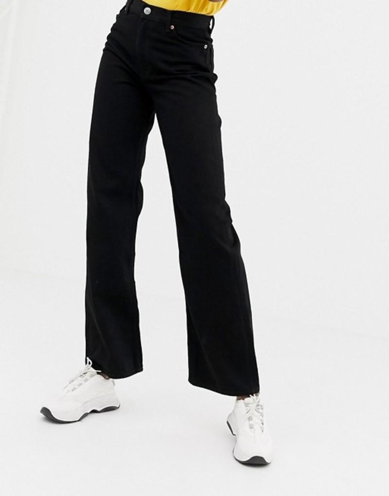 モンキ レディース デニムパンツ ボトムス Monki wide leg jeans in black Black