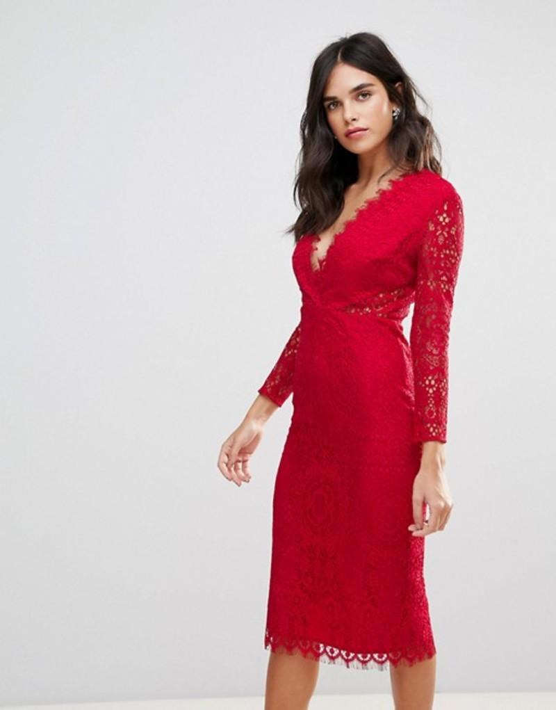 エイソス レディース ワンピース トップス ASOS Long Sleeve Lace Midi Pencil Dress Hot red