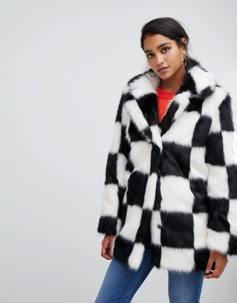エイソス レディース コート アウター ASOS DESIGN checkerboard faux fur coat Multi