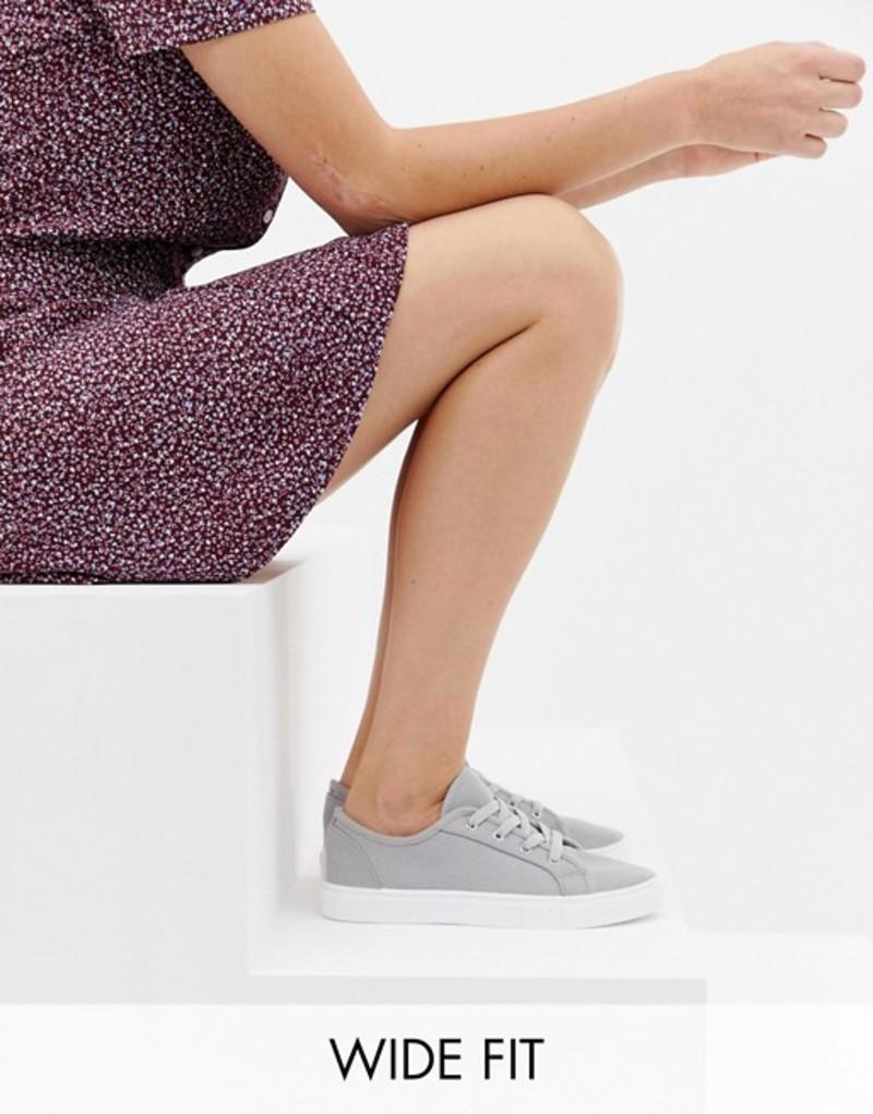 エイソス レディース スニーカー シューズ ASOS DESIGN Wide Fit Daisy sneakers Grey