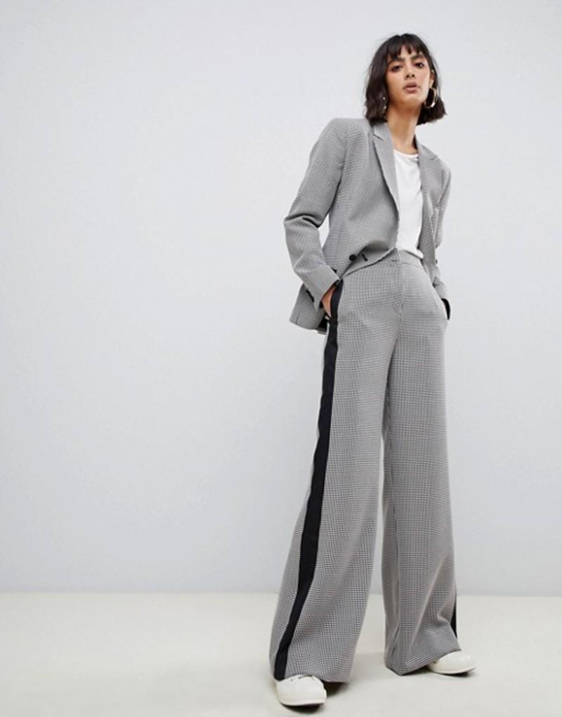 エイソス レディース カジュアルパンツ ボトムス ASOS DESIGN mini check wide leg suit pants Check