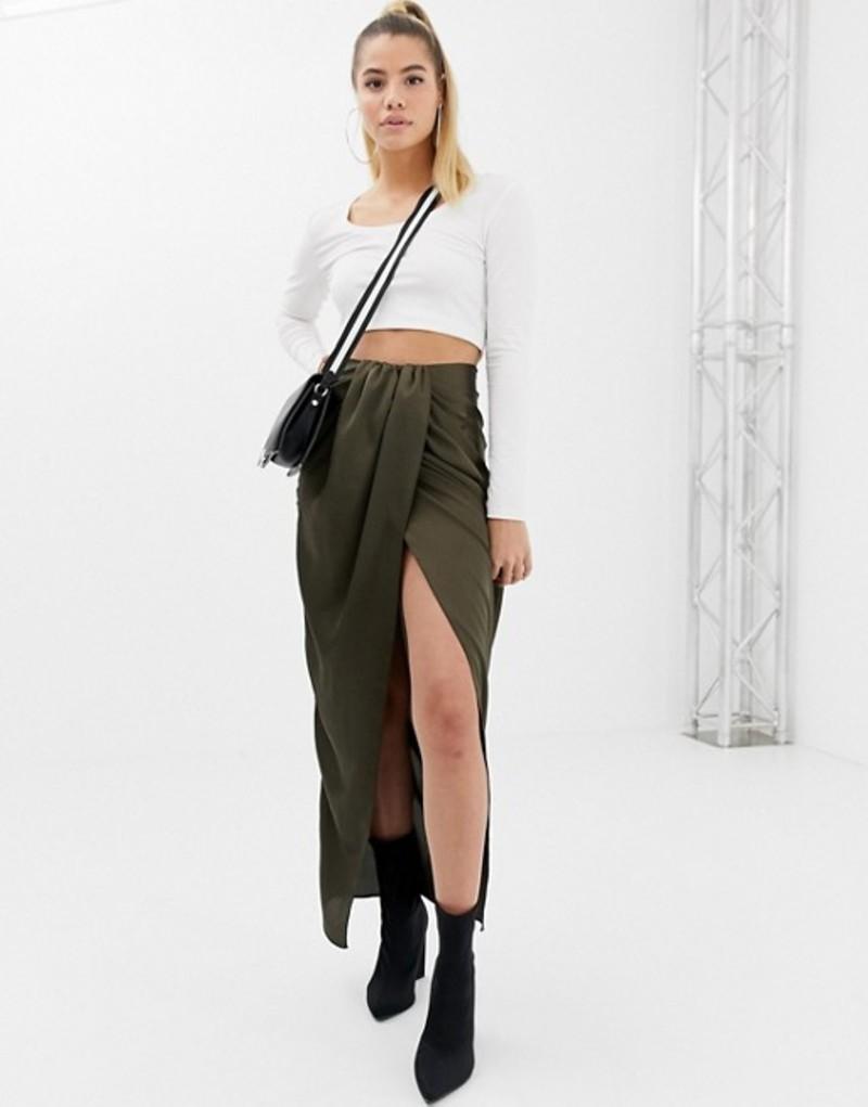 エイソス レディース スカート ボトムス ASOS DESIGN twist front maxi skirt in satin Khaki