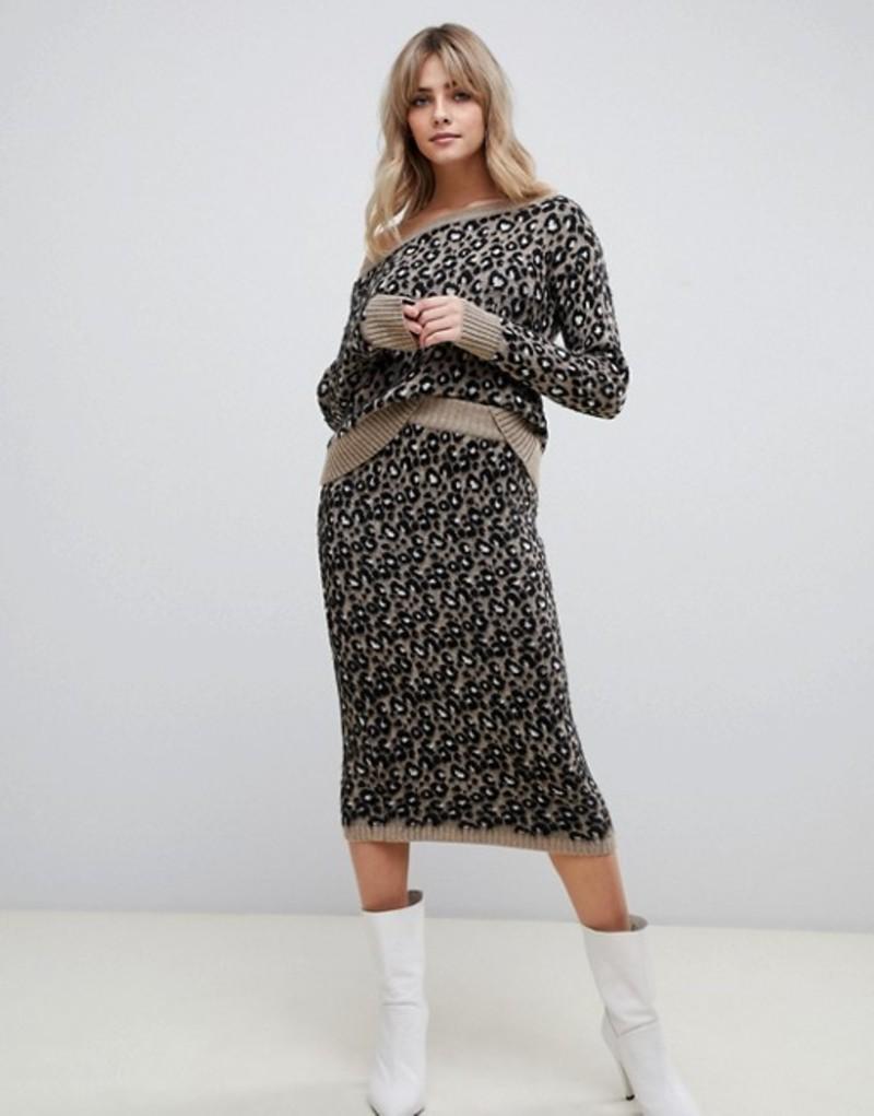 エイソス レディース スカート ボトムス ASOS DESIGN two-piece leopard skirt Multi