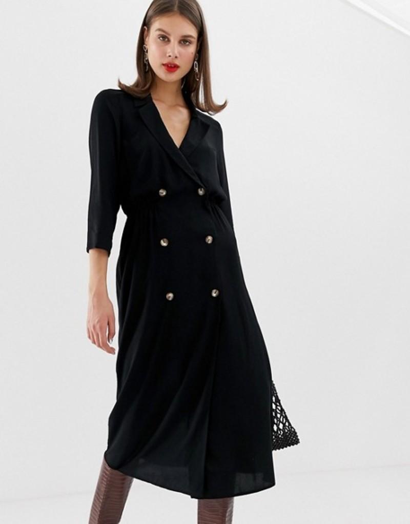 エイソス レディース ワンピース トップス ASOS DESIGN double button through collared midi shirt dress Black