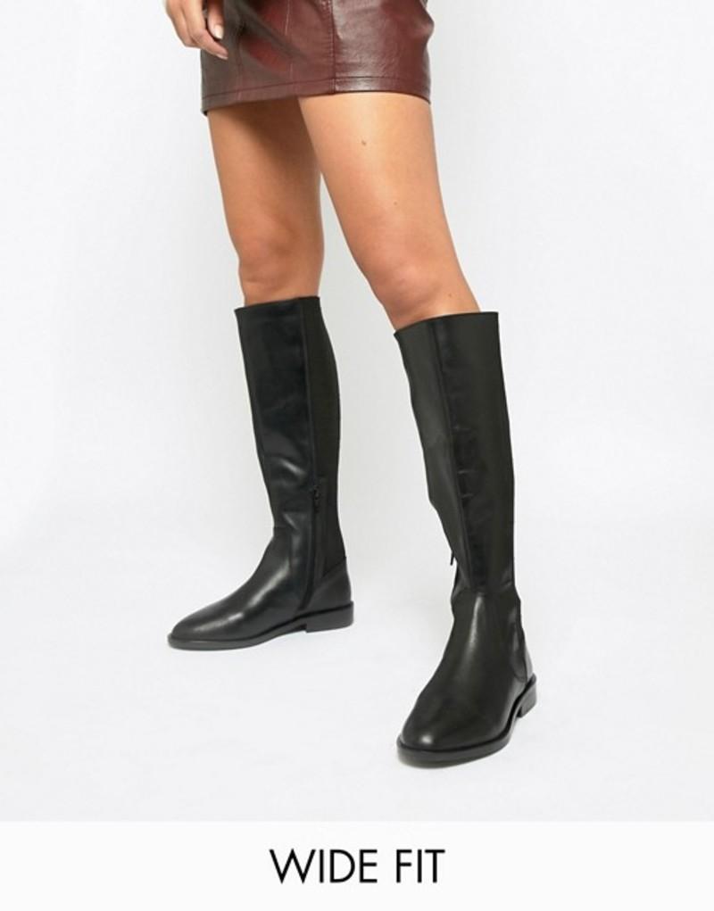 エイソス レディース ブーツ・レインブーツ シューズ ASOS DESIGN Wide Fit Cadence leather riding boots Black leather