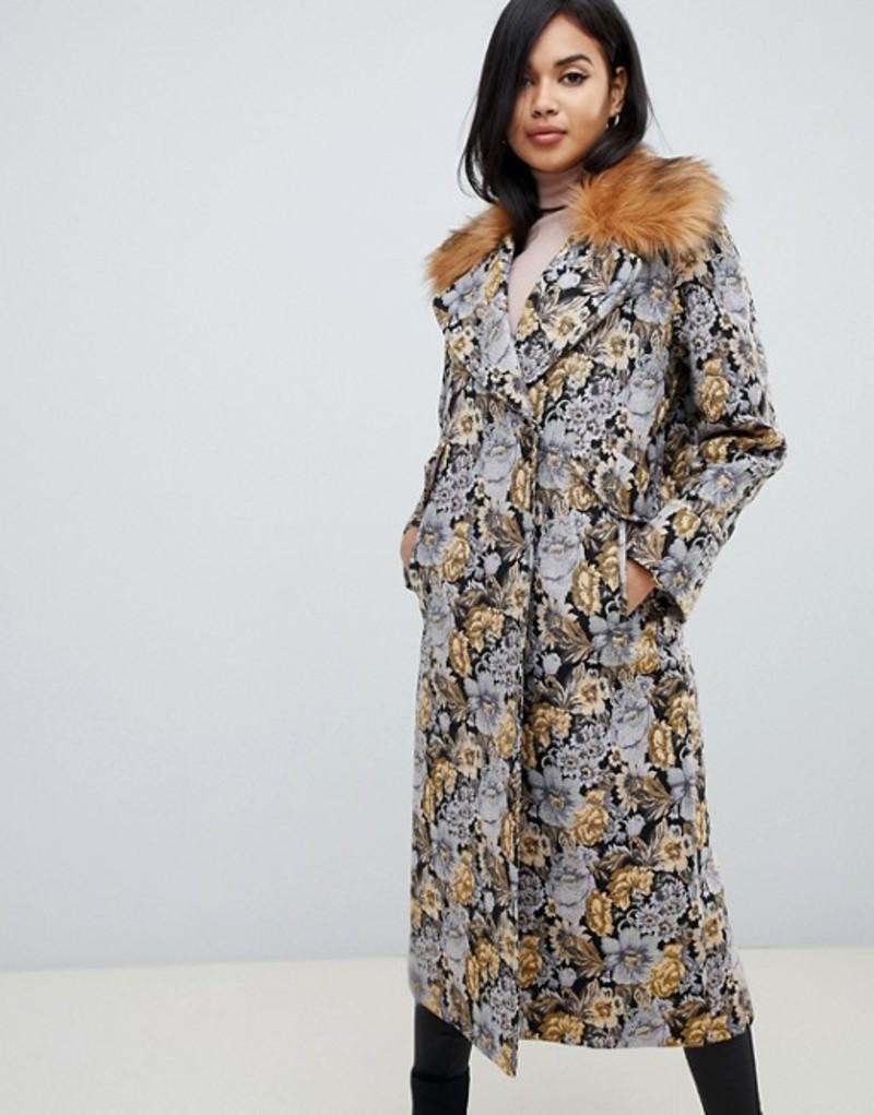エイソス レディース コート アウター ASOS DESIGN tapestry coat with faux fur collar Multi