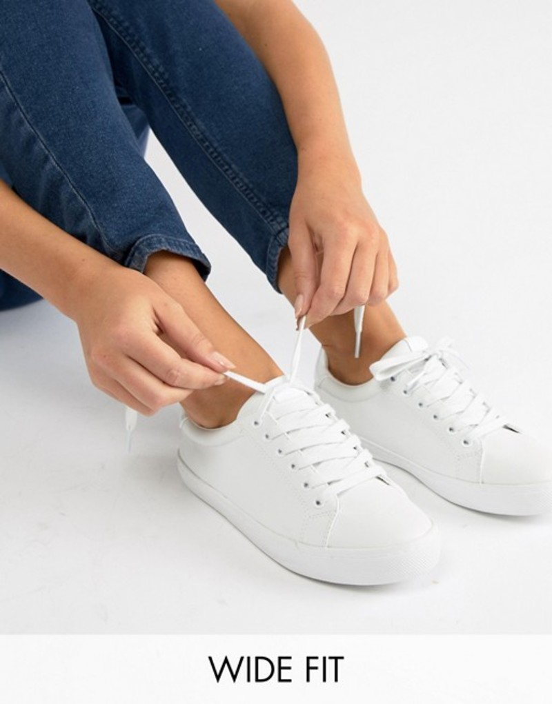 エイソス レディース スニーカー シューズ ASOS DESIGN Wide Fit Dustin lace up sneakers White pu