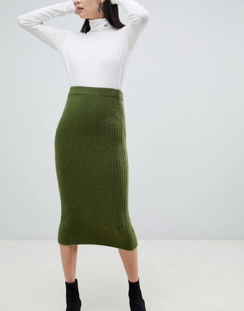 エイソス レディース スカート ボトムス ASOS DESIGN wide rib midi skirt Dark green
