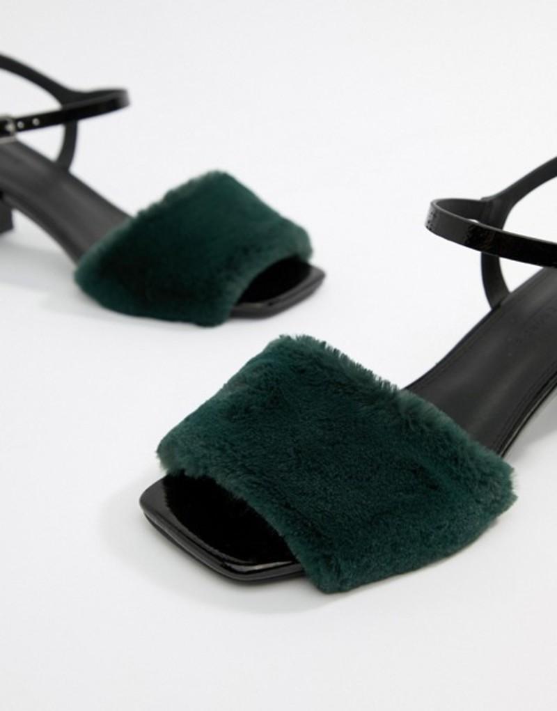エイソス レディース ヒール シューズ ASOS DESIGN Hackney fur low sandals Black/green