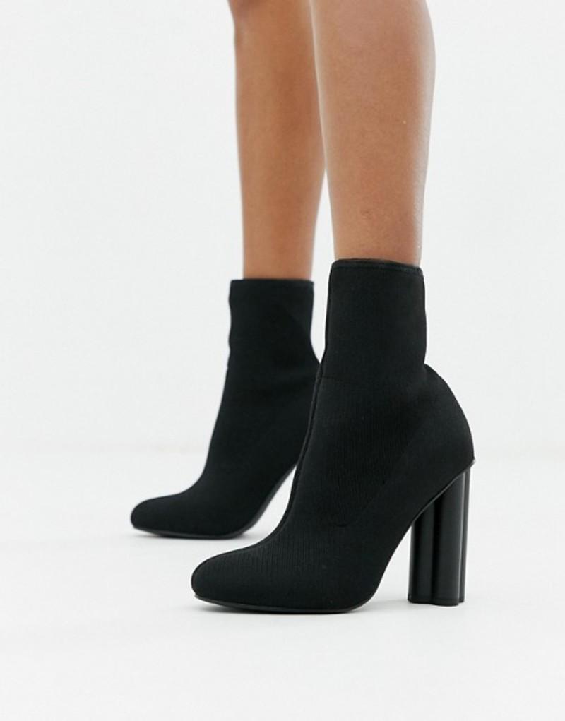 エイソス レディース ブーツ・レインブーツ シューズ ASOS DESIGN Eliza knitted heeled sock boots Black knit