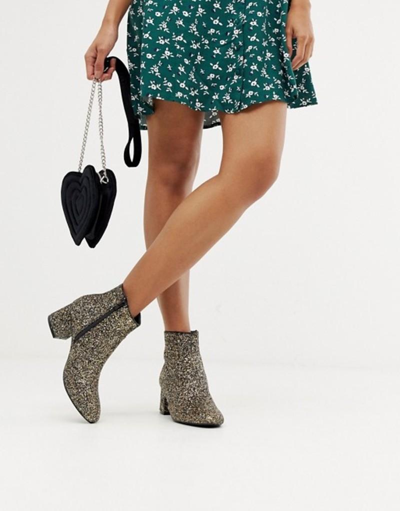 オアシス レディース ブーツ・レインブーツ シューズ Oasis heeled boots in gold glitter Gold glitter