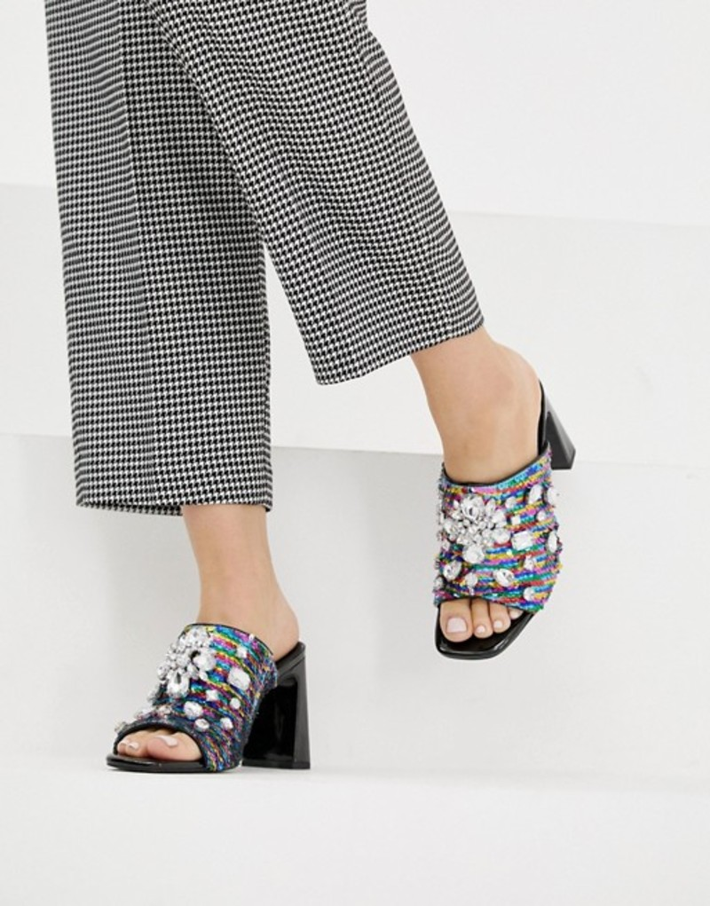 エイソス レディース サンダル シューズ ASOS DESIGN Harlequin embellished heeled sandals Multi/sequin