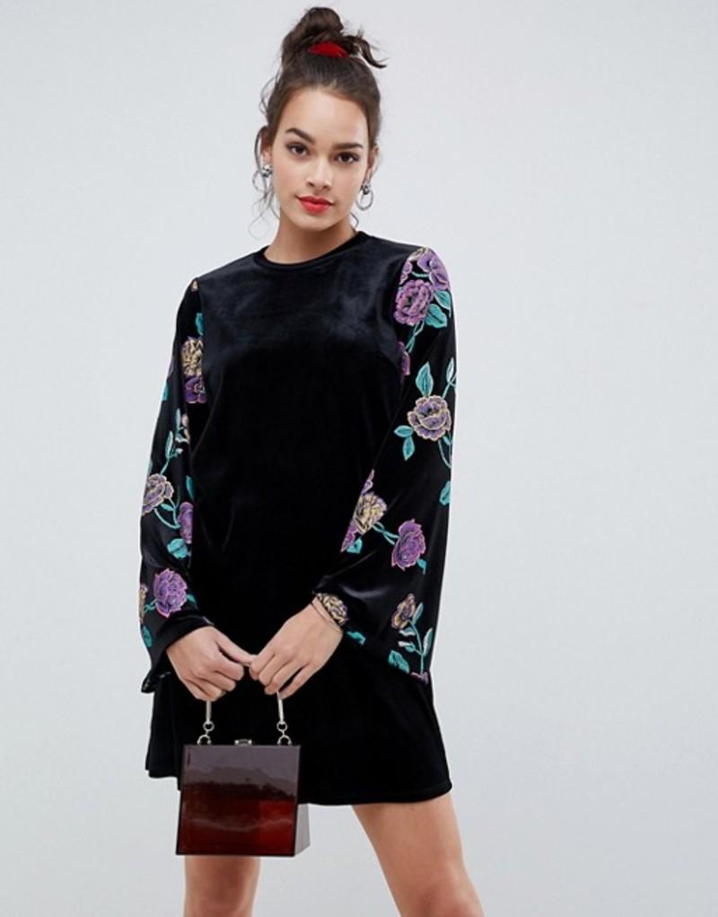 エイソス レディース ワンピース トップス ASOS DESIGN velvet sweat dress with puff print Multi