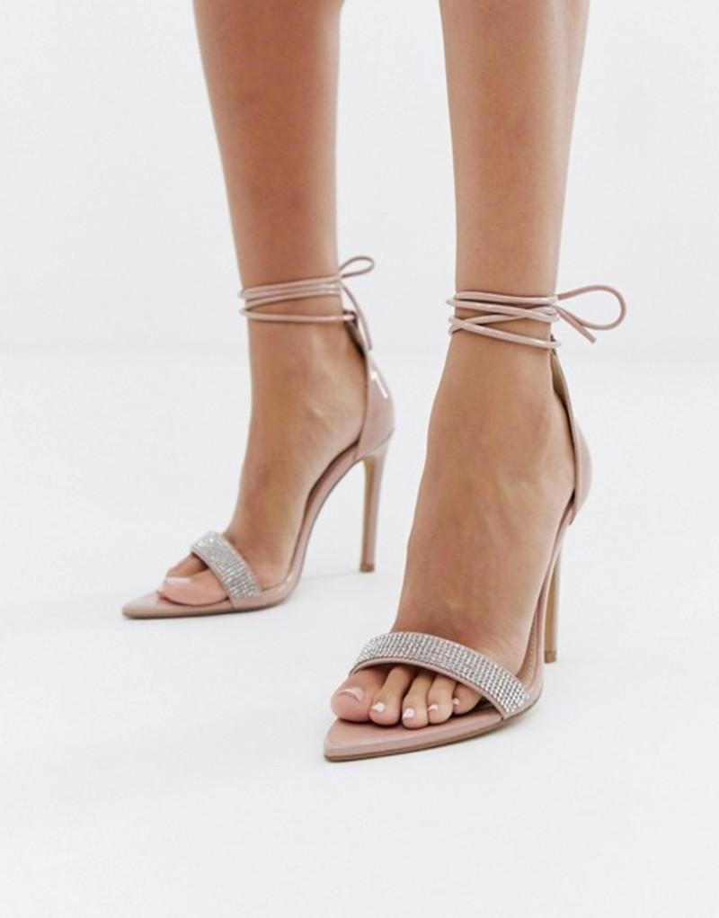 パブリックデザイア レディース ヒール シューズ Public Desire Caffeine blush embellished ankle tie heeled sandals Blush patent