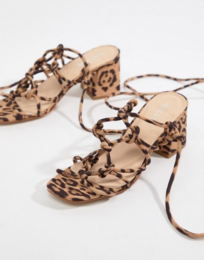 パブリックデザイア レディース サンダル シューズ Public Desire Freya leopard knot detail tie up heeled sandals Leopard