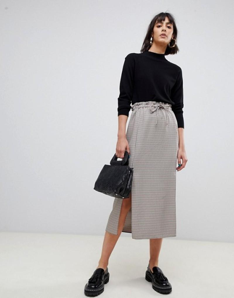 エイソス レディース スカート ボトムス ASOS DESIGN check paperbag midi skirt with splits Check