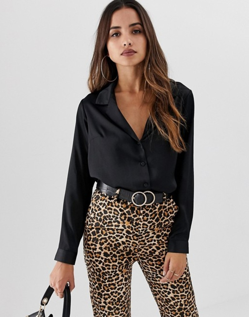 エイソス レディース シャツ トップス ASOS DESIGN relaxed satin shirt Black