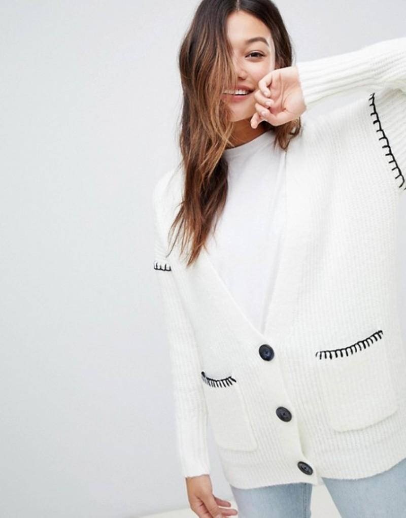 ミスセルフフリッジ レディース カーディガン アウター Miss Selfridge cardigan with contrast stitch in cream Cream