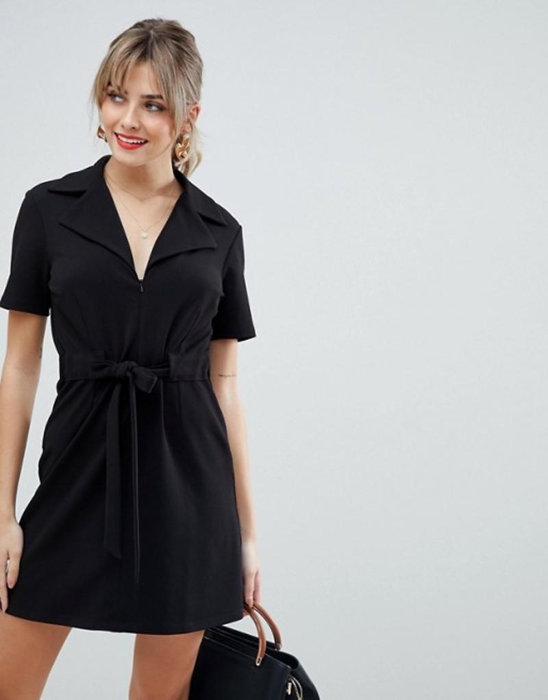エイソス レディース ワンピース トップス ASOS DESIGN belted 70s mini dress Black
