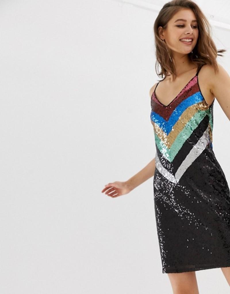 ウエアハウス レディース ワンピース トップス Warehouse slip dress in chevron rainbow sequin Rainbow